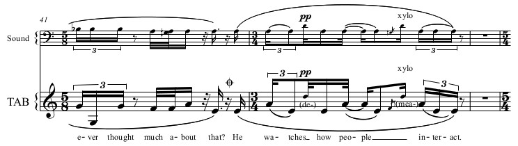 Excerpt of score for Noticing and Truth-Telling
