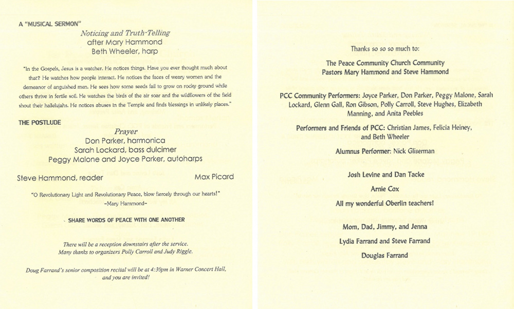 Pages 3 and 4 of the program for A Musical Service for PCC
